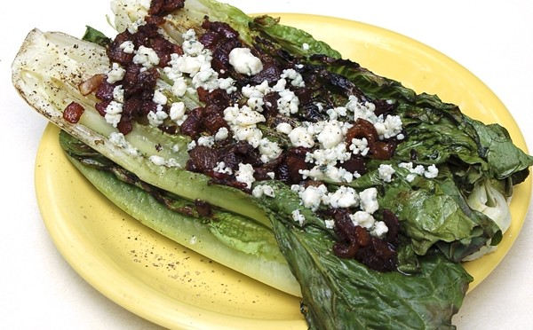 Grilled Romaine with Blue Cheese Bacon Vinaigrette